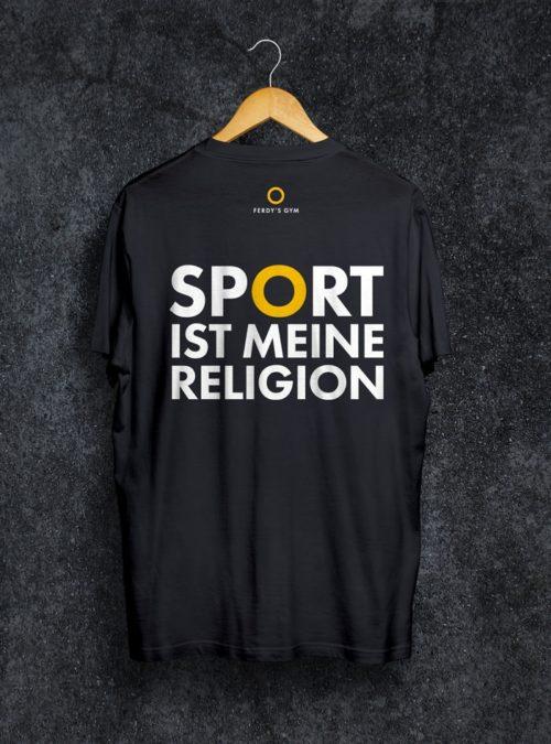 """Schwarzes T-Shirt mit dem Statement """"Sport ist meine Religion"""" auf dem Rücken"""