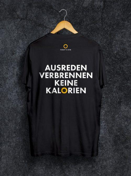 """Schwarzes T-Shirt mit dem Statement """"Ausreden verbrennen keine Kalorien"""" auf dem Rücken"""